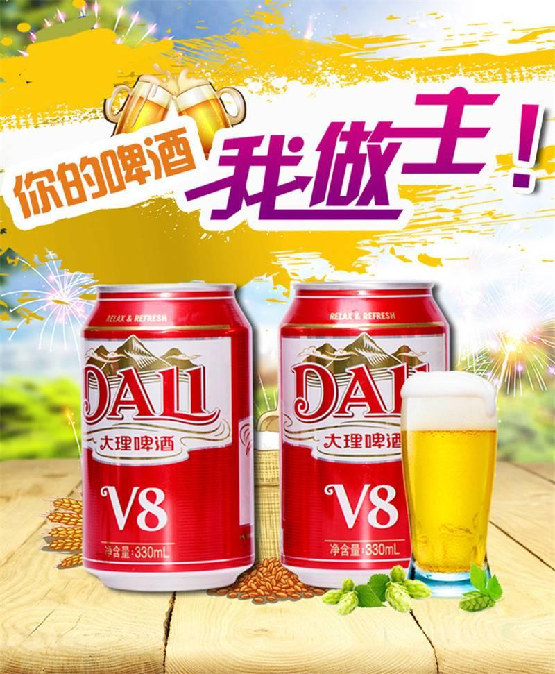 大理啤酒价格-大理啤酒V8多少钱!-大麦丫-精酿啤酒连锁超市,工厂店平价酒吧免费加盟